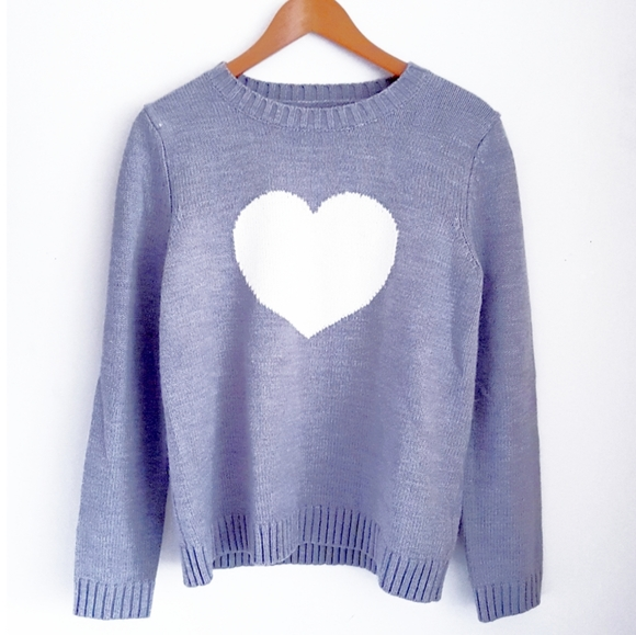 JOE FRESH Gray & White Heart Knit Pullover Sweater